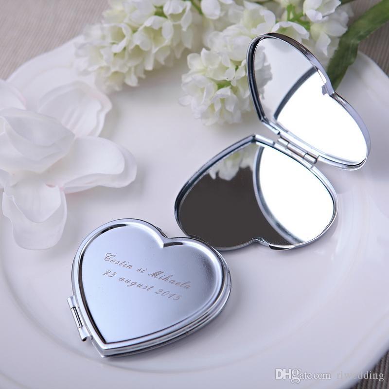 50Pièce / Lot Personnalisé Cadeau De Mariage Et Faveur Pour Invité Avec Sac De Sac À Main Personnalisé Coeur Maquillage Miroir Cadeaux Bébé Faveur De Mariée Parti Boda