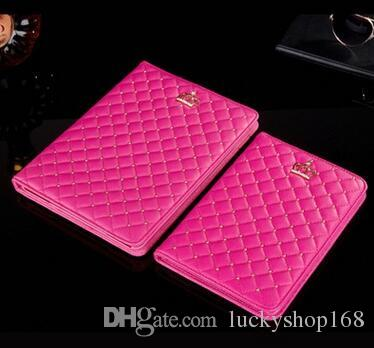 7colors New Cheap For iPad mini cases ipad2 3 4 Phone pouch Rhinestone Crown rivet Smart Cover with stand shockproof Dormancy pc+pu leather