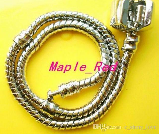 Wholesale in Bulk Low Price 10pcs/Lot Copper WHITE-K Stamp Snake Chain Bracelets Fit European Charm Beads 16cm to 25cm