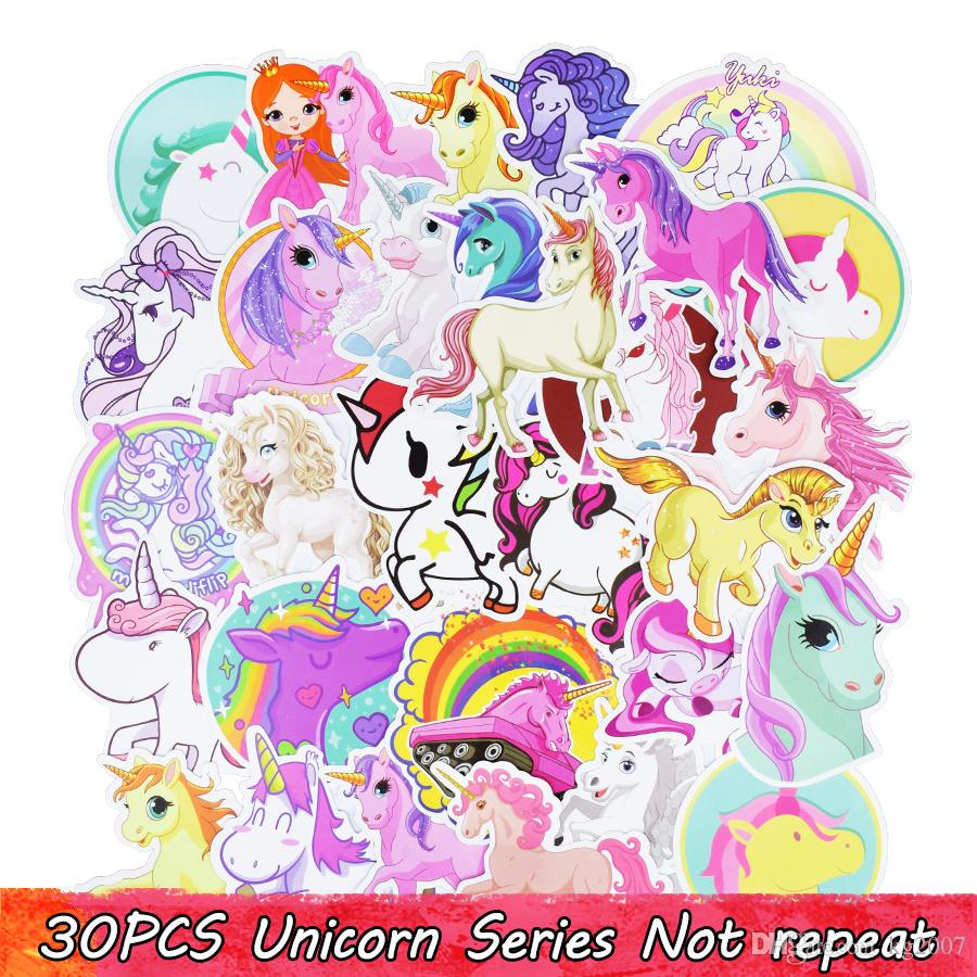 30PCS Cute Unicorn Custom Stickers Poster Wall Stickers for Rooms Home Laptop Skateboard Luggage Car Kids DIY Cartoon Styling Sticker