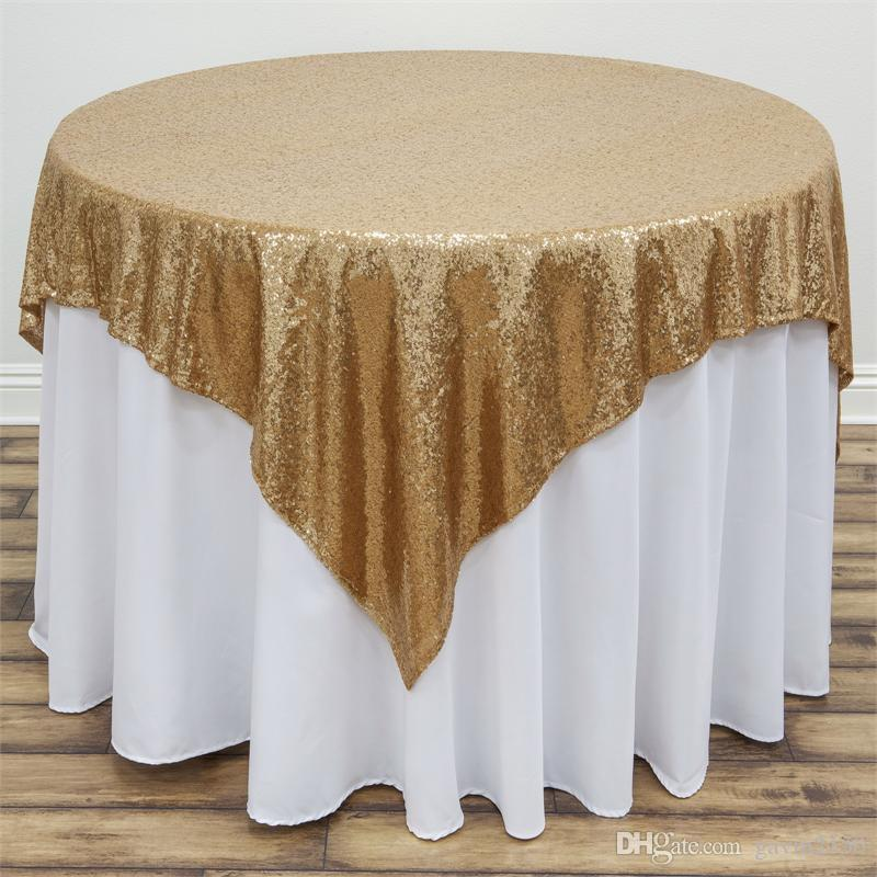 Free Shipping High Quality 96inch Square Gold Silver Sequin TableCloth Wedding Beautiful Gold Silver Sequin Table Overlay
