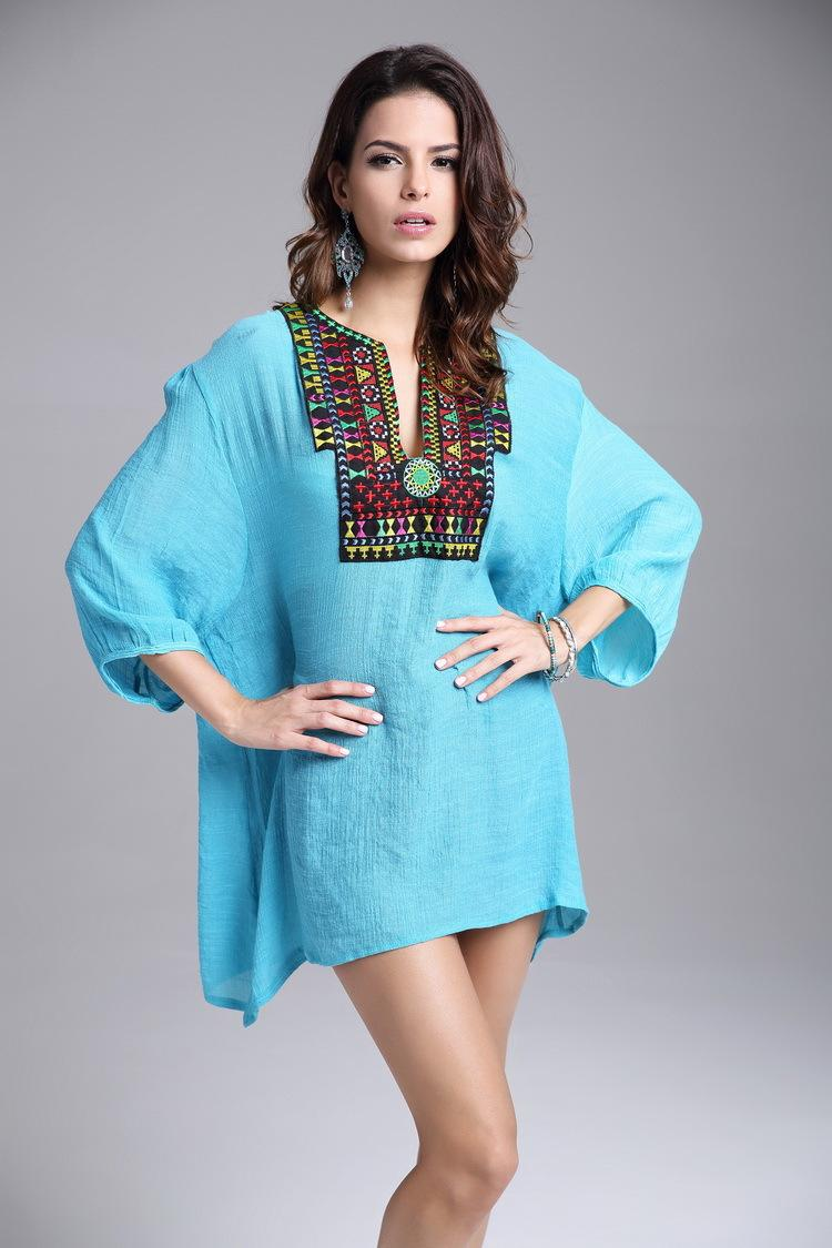 2019 Mexican Peasant Clothes 2016 Women Top Shirt Short Sleeve Embroidered  Blouse Beading Cotton Plus Size Loose Peasant 0894 From Gqd2016, $8.7 | ...