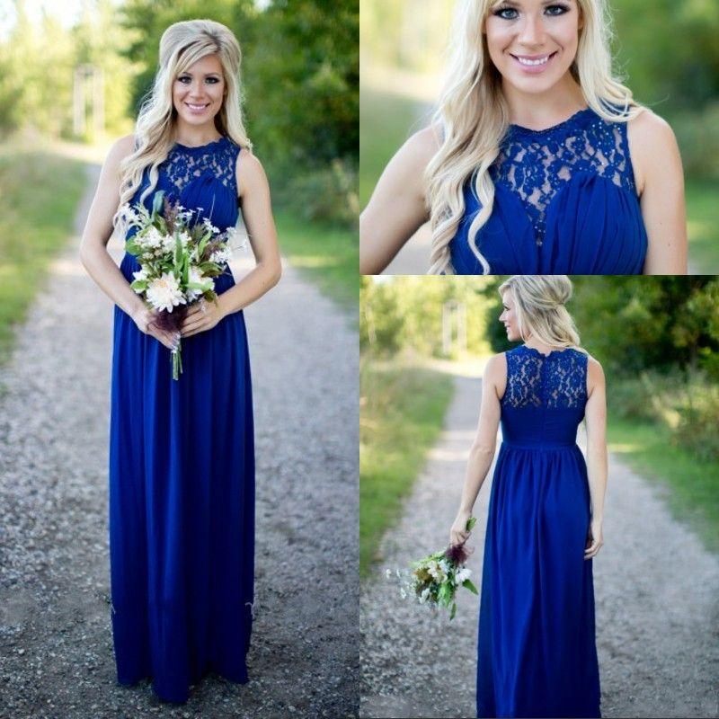 Abito da damigella d'onore in chiffon di pizzo blu royal vintage Abiti da cerimonia per adulti lunghi per gli ospiti di nozze Abiti da damigella d'onore in stile country 2016