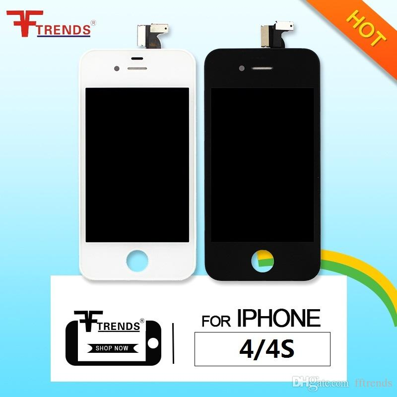 for LCD iPhone 4s screen & LCD iPhone 4 Touch Screen Digitizer Full Assembly with Earpiece Anti-Dust Mesh Free Installed Black White DHL