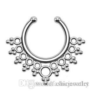 2019 Clip-on Nose Rings Studs fake nose ring Unisex Punk Non Piercing Fake Nose Ring Stud Hoop 18k Gold Fake Septum Indian Piercing Free DHL
