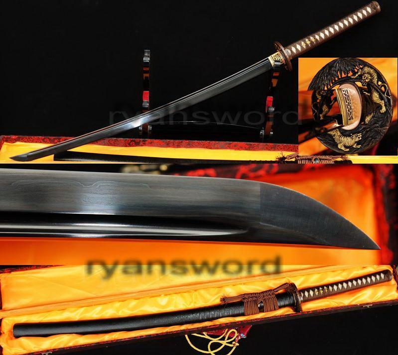 Hand Forged Damascus Black Folded Steel Japanese Samurai Katana Sword
