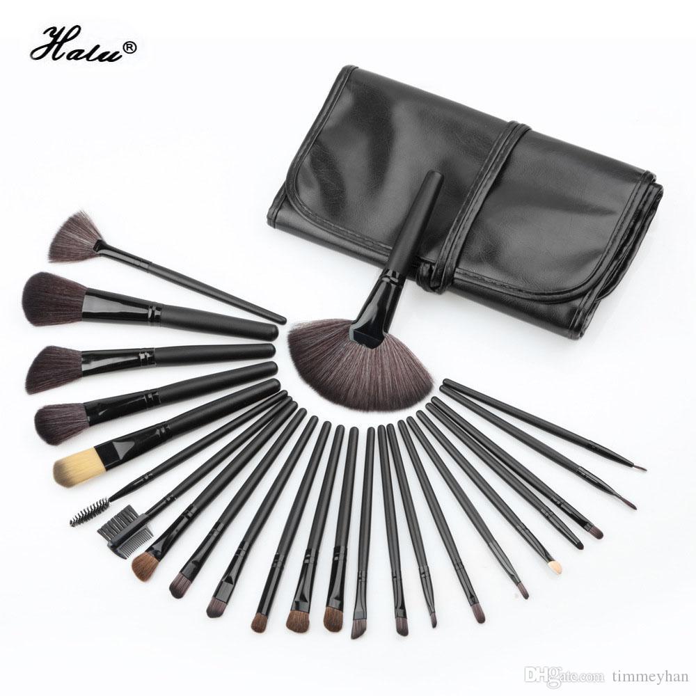 Halu 24 pcs premiuim pinceau de maquillage professionnel Set souple en nylon cheveux en bois Artiste Make Up Brush Kit Eye blush set