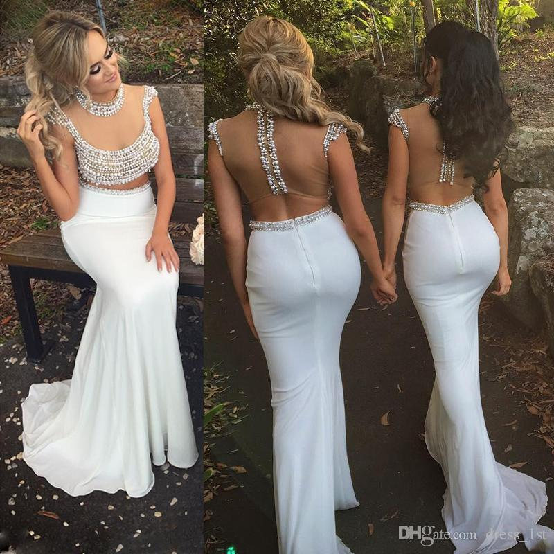 2020 Latest Sexy Two Piece Prom Dresses White Pearls Beading Illusion Crop Top White Chiffon Mermaid Evening Party Gowns EN7132