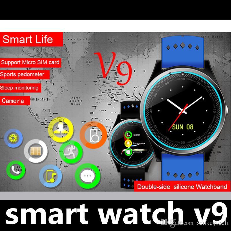 Moda Sim Relógio Inteligente Relógio Digital Do Telefone V9 para Homens Mulheres Bluetooth Eletrônica Smartwatch Camera para Dispositivos Wearable Telefone Android