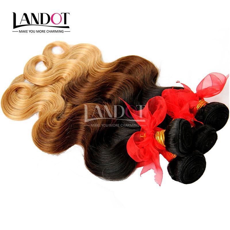 Ombre Human Hair Extensions Virgin Brazilian Peruvian Malaysian Indian Body Wave 3 Three Tone Brown Blonde 1B / 4/27 # Ombre Hair Weave Bundles