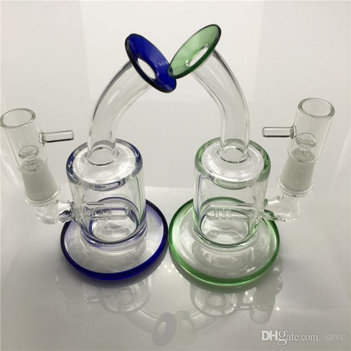 Oil rigs glass bongs recycler glass bubbler bong 6 inches 14mm male green blue water bong mini thick glass pipes for smoking