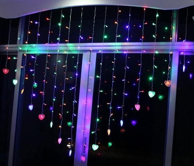 2 mt x 1,5 mt Herzform 124 led 16 Herz LED Fee String Urlaub Weihnachten Hochzeit Bar Party Geburtstag Dekoration Led Vorhang Licht