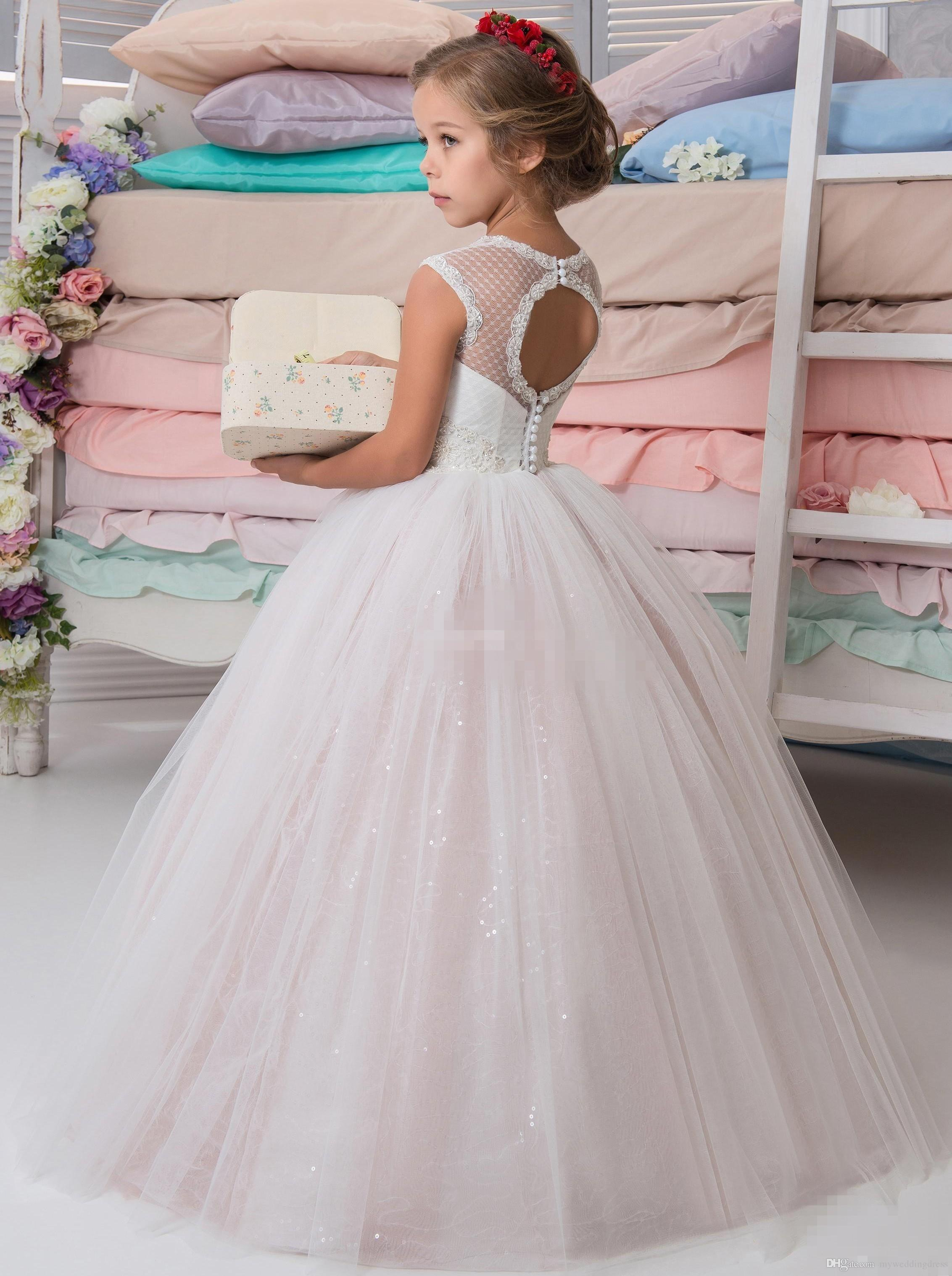 Sparkly Lace Beaded Arabic 2017 Flower Girl Dresses For Wedding Crew
