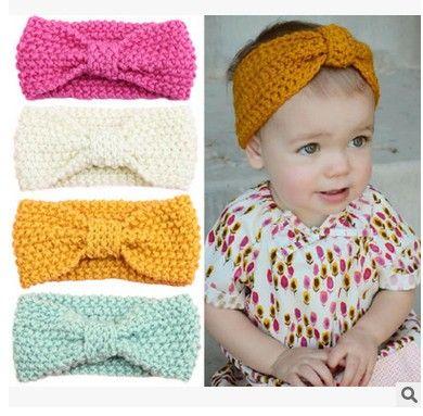 2016 Baby Girls Hair Accessorie Butterfly knitting Kids Hair Band European style big bows headwear ear protection headwear H149