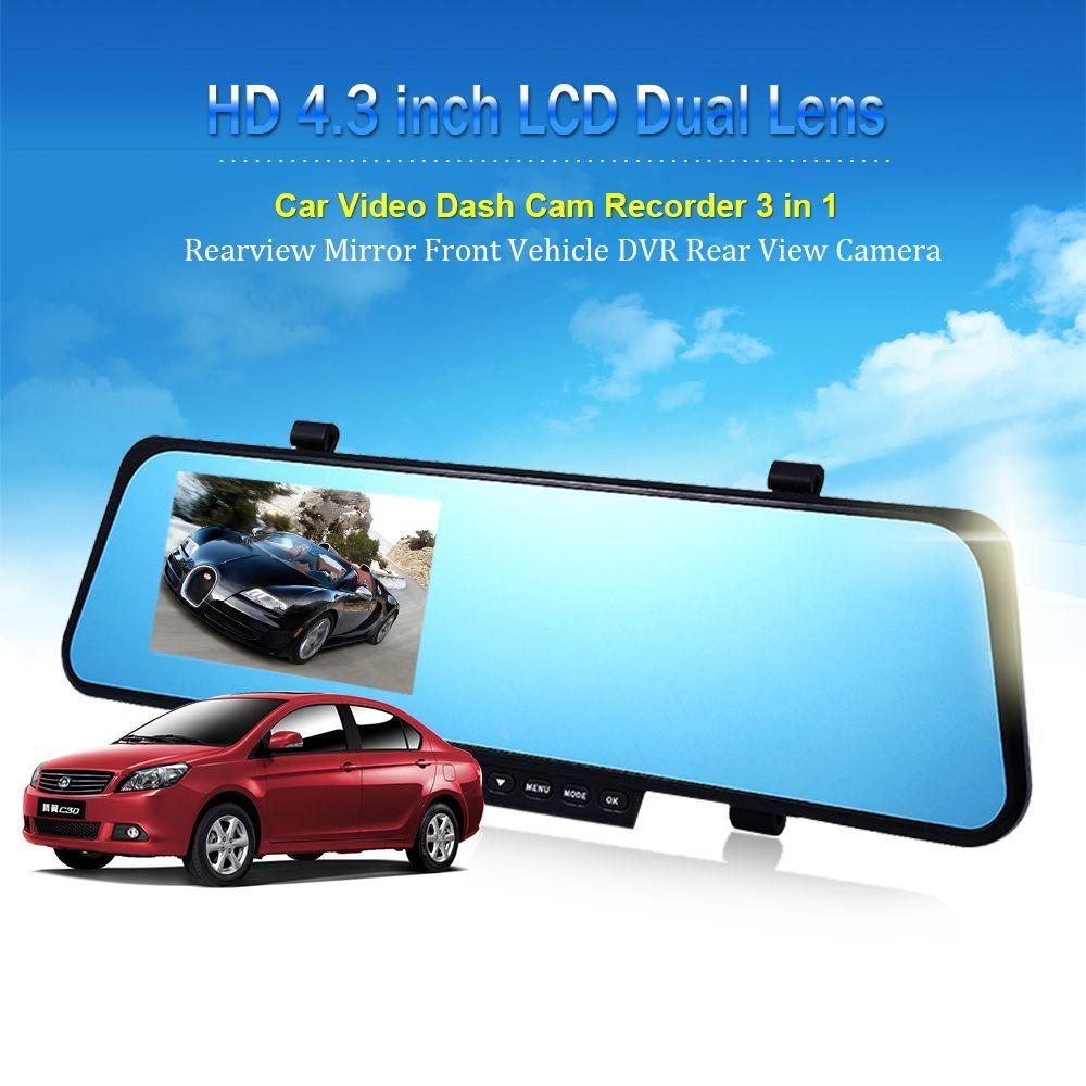 Voiture dvr 3 in1Newest 4.3 Pouce HD 1080 P Voiture Rétroviseur DVR Voiture Caméra Enregistreur Parking Nuit Vision DVR Double Caméra Vidéo Enregistreur