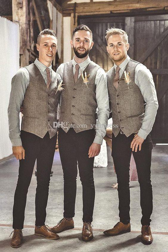 Vestito dalla maglia di nozze panciotto Groomsmen Attire su ordine 2020 Modest lana sposo Gilet uomini di stile britannico vestito Gilet Slim Fit Uomo