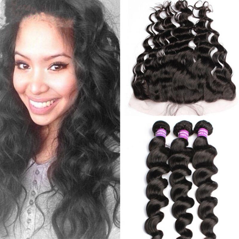 Peruano 8A Ola suelta Oreja A Oreja Frontales de encaje con paquetes 4pcs / lot Paquetes de cabello humano con encaje Frontal parte libre