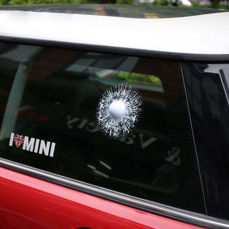 Araba Suv 3D Golf Topu Vurdu cam Pencere Çatlak sticker Vücut Yapıştırıcı Çıkartması Trim