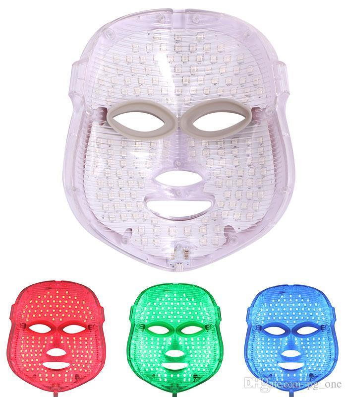 Светодиодные маска для лица 3 цвета Фотон устройство лица кожи анти-старения отбеливание уход за кожей омоложение массаж лица Маска красоты