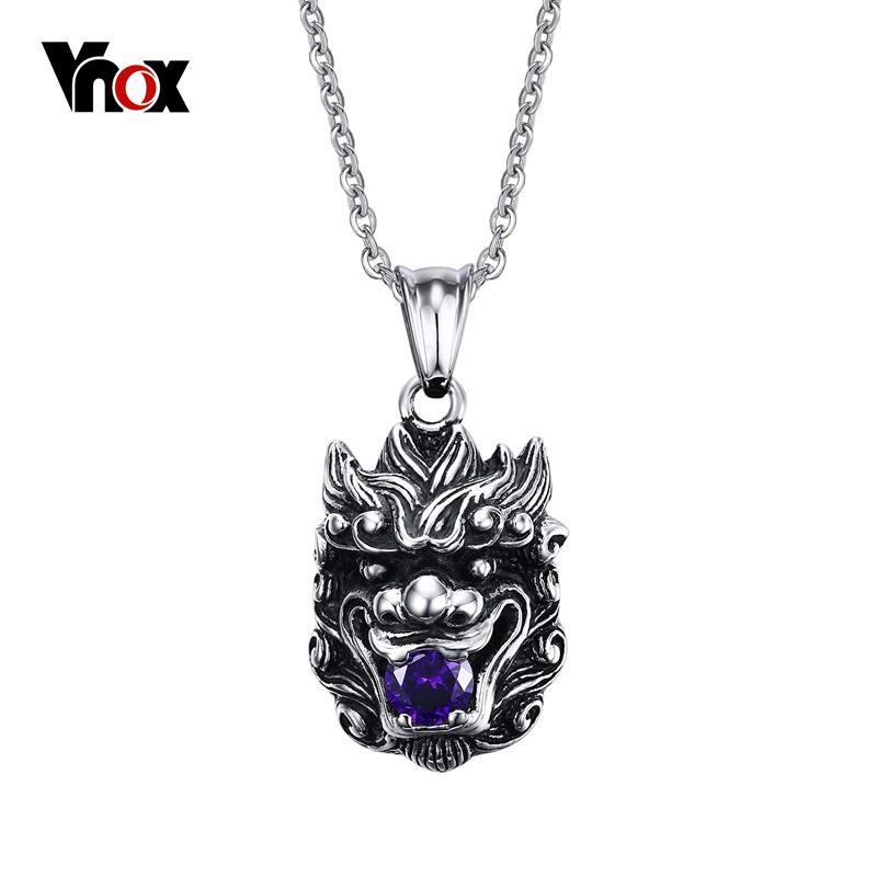 Nuevo collar de colgantes de cabeza de dragón chino para hombre de acero inoxidable CZ Diamond Stone Jewelry Free 20 inch Chain
