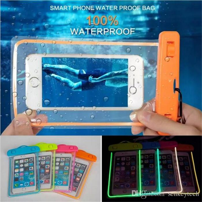 Iphone 6 için Samsung S6 için Gece Işığı Işıltılı Telefon Çanta Sualtı Su geçirmez Telefon Çanta Dalış Çanta Cep Telefonu Kılıf