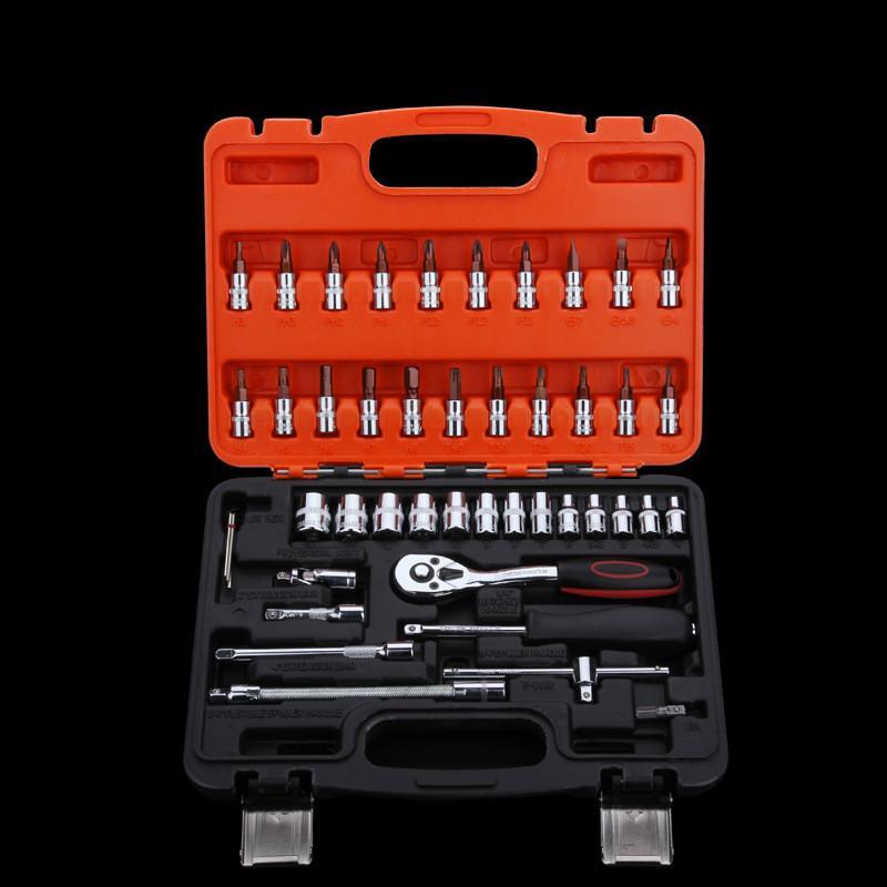 Il trasporto libero 46 PZ chiave a cricchetto presa tool box set manuale manicotto strumenti set per la riparazione auto di emergenza strumento hardware dell'automobile accessorio