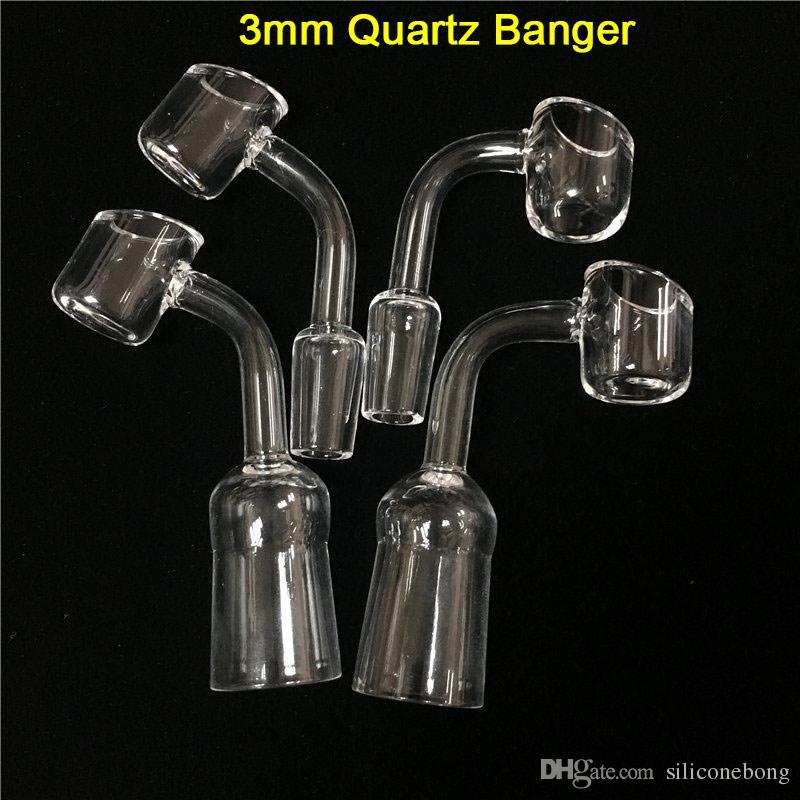 Hurtownie Quartz Banger Paznokci 3mm Grube 45 90 Stopni 14mm 10mm 18mm Joint Samica Malethermal Quartz Banger dla szklanych Bongs