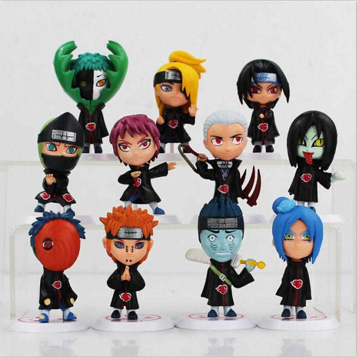 Japanische Anime Naruto Akatsuki PVC Figure sammelbare Modell Spielzeug Puppe 6.5cm 11pcs / set Geschenke für Geburtstag-Weihnachtsgeschenk-freies Verschiffen