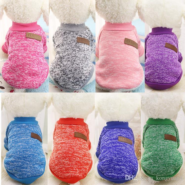 Pet Supplies 10 Farben Hundebekleidung Optional Klassische Mode Hund Pullover Pet Kleidung Weiche Warme Hundejacken Für Herbst / Winter Verwendung