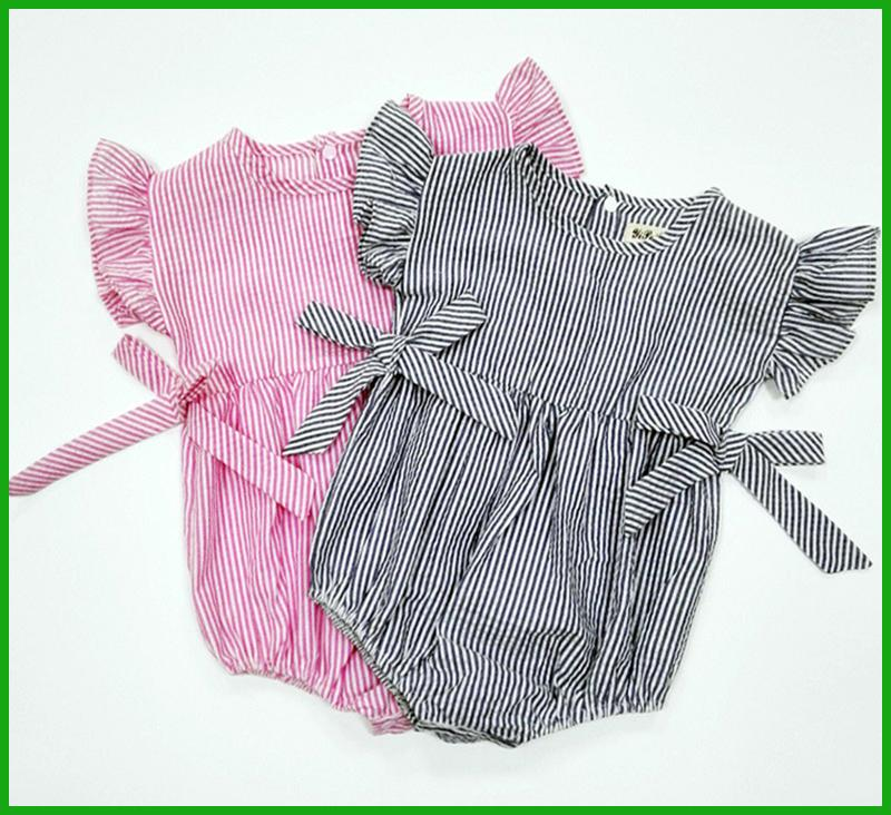 toddler baby boys girls rompers children jumpsuits pink grey color one-piece bodysuit bow striped kids clothing set free shipping