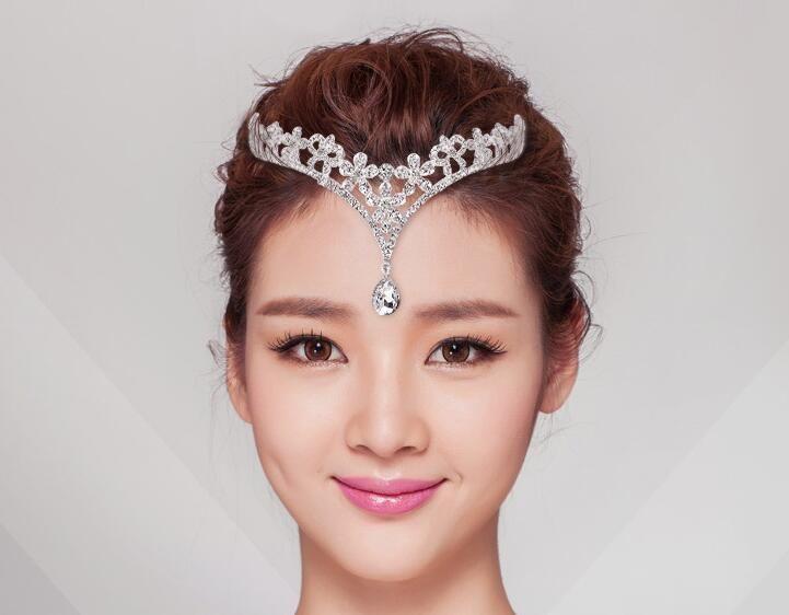 1 Piece Silver Crystals Rhinestones Flower Head Chain Jewelry Forehead Headpiece Bride