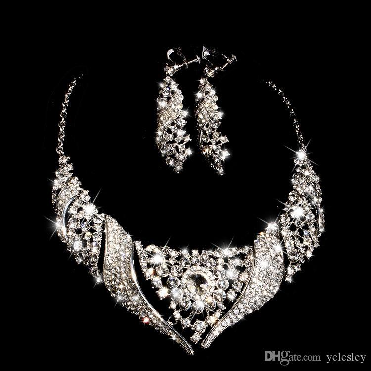 Silver Tone White Pearl and Rhinestone Crystal Diamante Wedding Bridal Necklace and Earrings Bridesmaid Jewelry Set