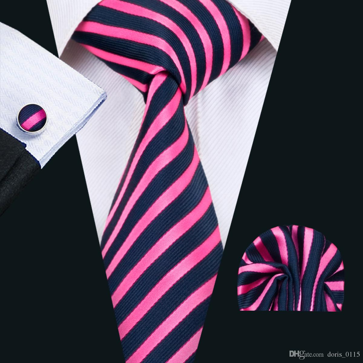Classic Silk Mens Neckties Stripes Tie Sets Pink Tie for Men Tie Hankerchief Cufflinks Set Jacquard Woven Business Wedding Party Gift N-1403