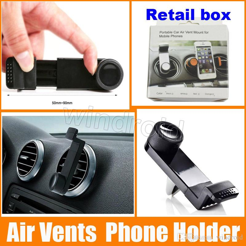 El soporte de teléfono móvil ajustable portátil más barato universal Soporte de ventilación de aire del coche para Samsung Galaxy S7 edge Note iPhone 7 Plus GPS caja al por menor
