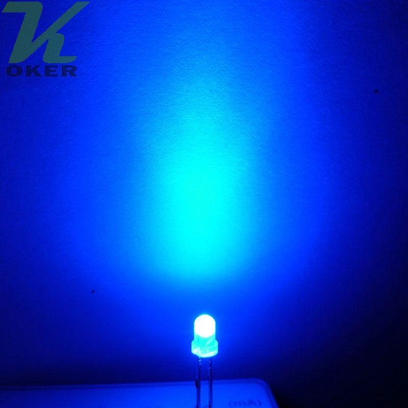 1000pcs 3mm 블루 확산 LED 조명 램프 방출 다이오드 안개가 자욱한 울트라 밝은 비드 플러그인 DIY 키트 연습 광각