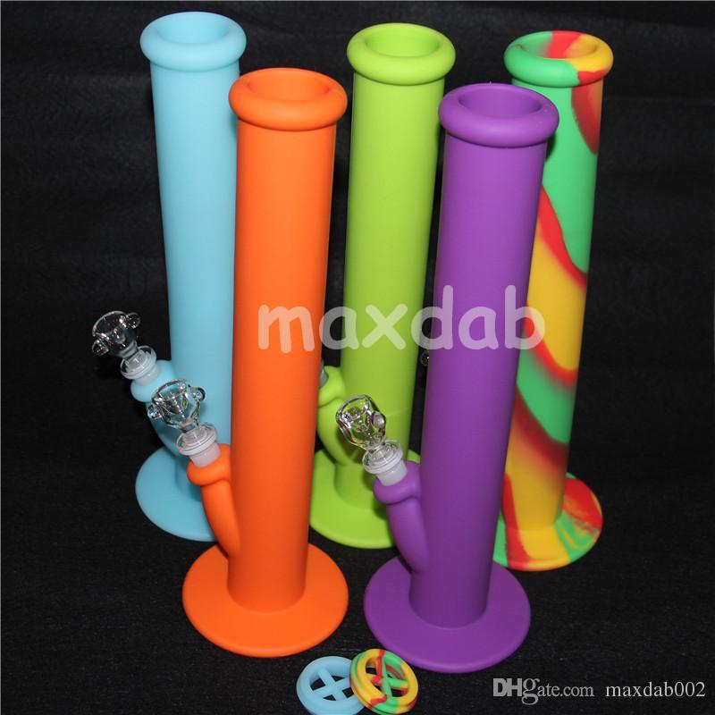 Em estoque colorido Silicone Tubos De Água bongos de vidro tubo de água de vidro 14mm tubos de água de silicone bongo de vidro de boa qualidade e frete grátis DHL