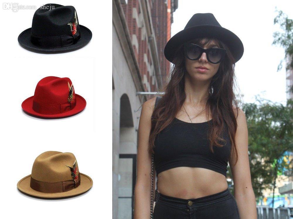 Wholesale - 유니섹스 100 % 울 펠트 모자 페도라 trilby 라운드 와이드 브림 모자 리본 페더 악센트 모자
