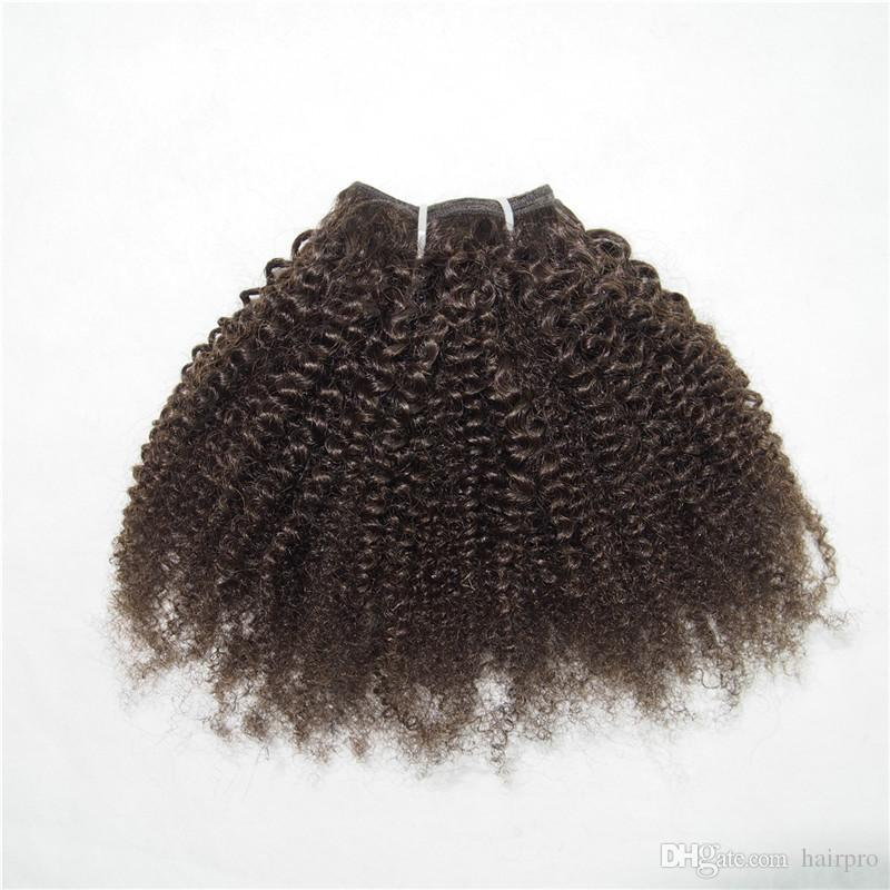 Brown Color Short Curly Human Hair Weave Star Bob Style 1 piece Kinky Curly Free Shipping #2 #4 100g/pc