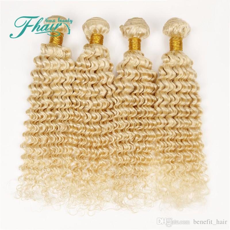 9A Brasileño Rizado Profundo Rubio El cabello humano teje # 613 Platinum Bleach Blonde Hair 4 Bundles Lot Deep Deep Curly Blonde Tramas Extensiones