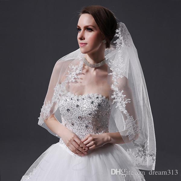New White Ivory Wedding veil Lace Edge Bridal veils Applique Fingertip Length One Layer