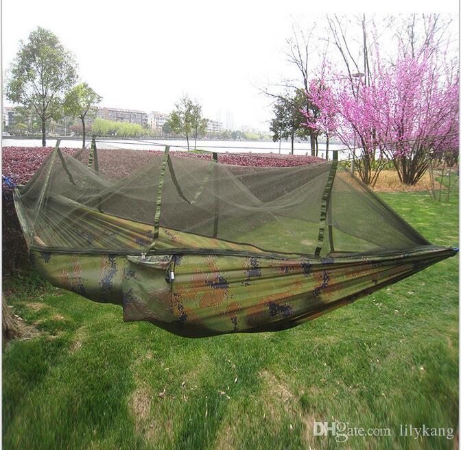 Letto 2person Camping Hammock leggero nylon paracadute doppio Hammock con zanzara corda netta amaca sedia altalena portatile divano letto