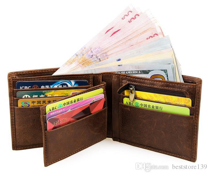 Vintage en cuir véritable de haute qualité en gros Crazy Horse Wall Wallet avec porte-carte de crédit pour les hommes