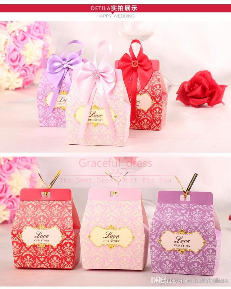 2016 Hot Sale Romantic Candy Boxes Bow Ribbon Purple/Pink/Red Favor ...