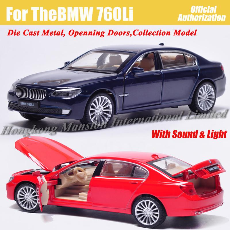 1:32 Scale Alloy Diecast Metal Car Model For TheBMW 760Li Collectible Model Collection Pull Back Toys Car With Sound&Light