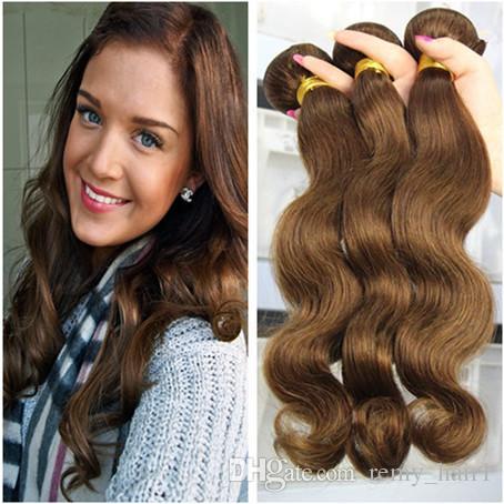 Brazilian Medium Brown Hair Extensions Body Wave Human Hair Wefts 3Pcs Chocolate Brown Brazilian Hair Weave Bundles Pure #4 Color