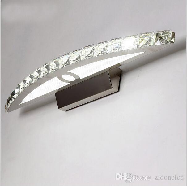 Le cristal K9 contemporain a mené le miroir allume des appliques de mur de salle de bains lumières de vanité 10w / 15w / 18w applique murale claire / cristal ambre