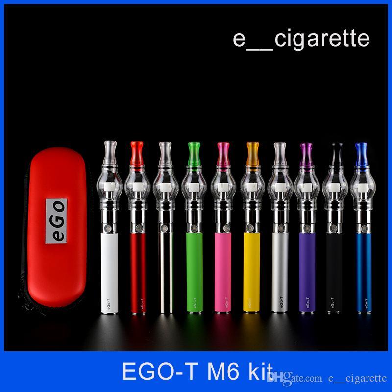 Ego starter kit tanque de globo de vidro para o atomizador de vapor de erva seca de cera cigarro eletrônico M6 EGO-T bateria caso Zipper Clearomizer e cigarros