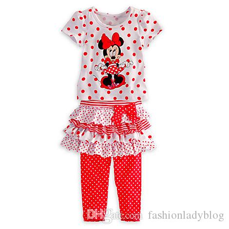 Minnie 2 Piece Baby Girls Tutu Striped Top and Polka Dotted Shorts Set