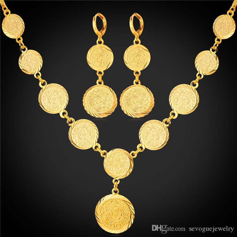 Hot Old Coin Earrings Necklace Set New Arrival 18K Real Gold Plated Vintage Jewelry Set Free Shipping 7-NE882K