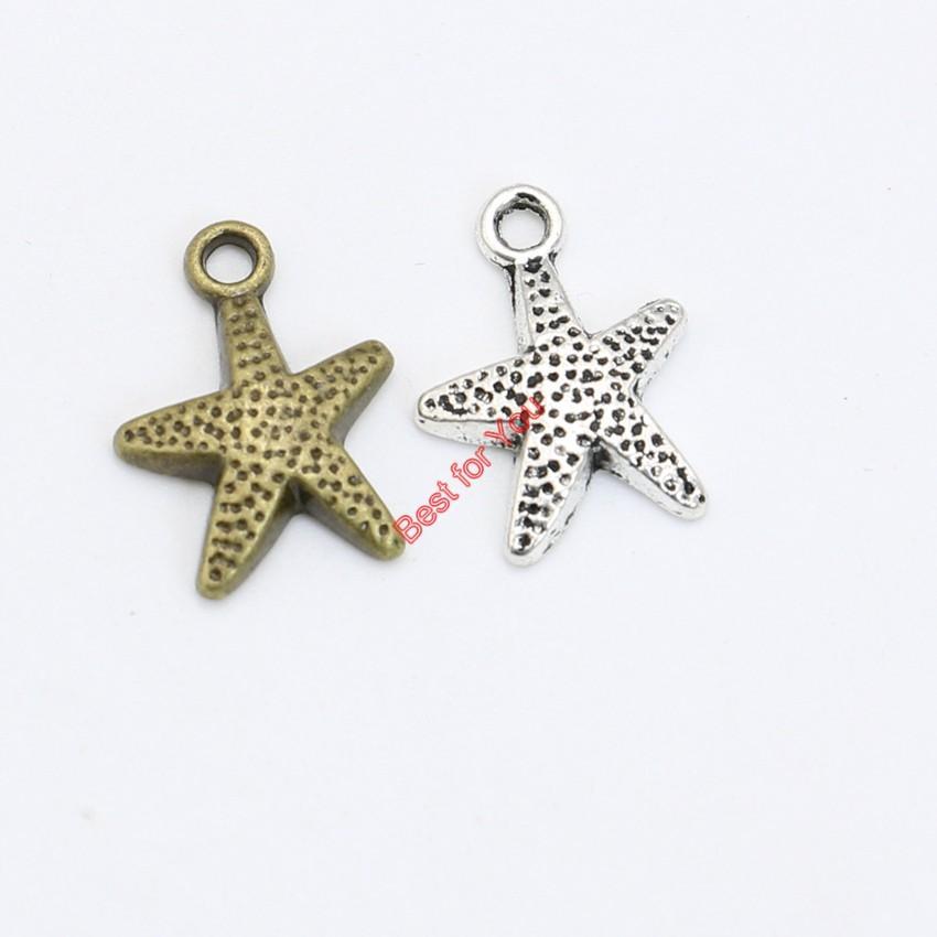 Tibetischen versilbert stern starfish charms anhänger für halskette armbänder schmuck machen diy handgemachte 14x12mm schmuck machen